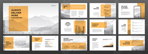 Fototapeta Modern powerpoint presentation templates set. Use for modern keynote presentation background, brochure design, website slider, landing page, annual report, company profile. obraz