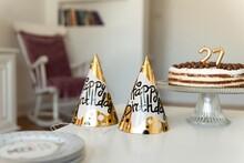Birthday Hats With Cake Isolat...