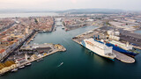 Aerial view of the industrial harbor of Sete in the South of France - Passenger ferry to Morocco