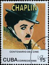 Charlie Chaplin Portrait On Cuban Postage Stamp