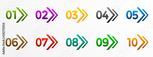 Photo Modern colorful numbers button set with arrow multicolored – stock vector