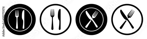 Set plate, fork and knife icons - stock vector Fotobehang