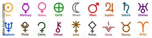 Fotomural Set of simple astrology symbols icon of planets, celestial bodies, zodiac constellations, aspects, nodes, astronomy, star maps, horoscopes