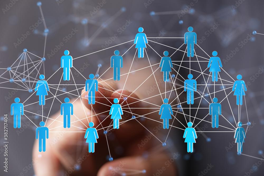 Fototapeta communication network digital group connect