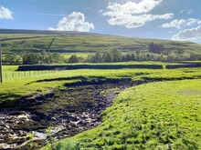 Landscape, With Dried Out River Bed, Fields, Meadows, And Distant Hills In, Littondale, Skipton, UK
