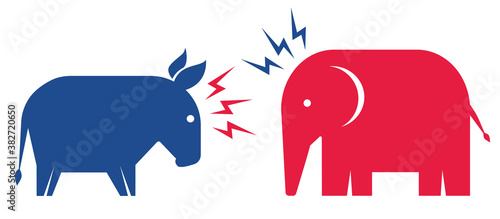 Canvas Print Donkey and elephant. Elections 2020.