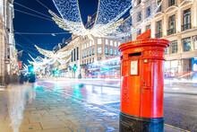 Red Mail Box On Regent Street In London, UK