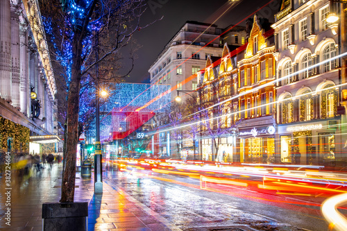 Oxford street in London at Christmas time