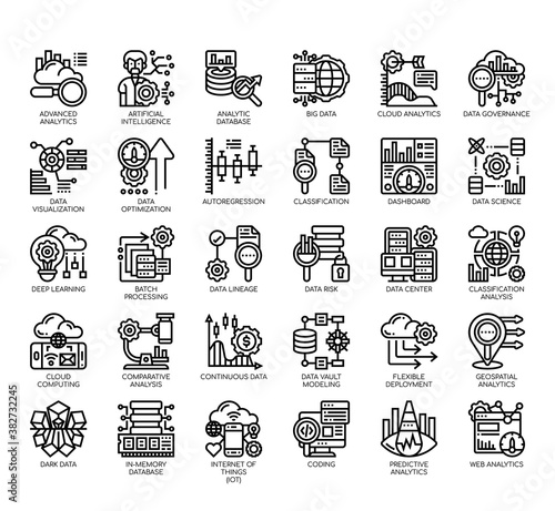 Tablou Canvas Set of data analytic thin line and pixel perfect icons for any web and app project