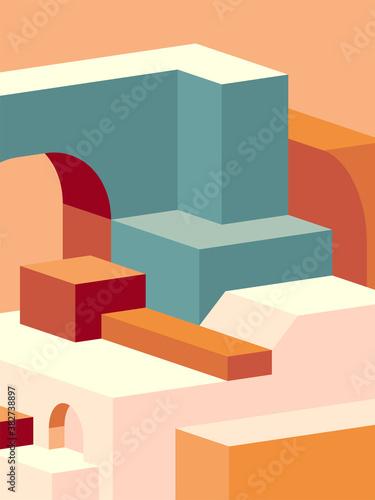 Okleiny na drzwi - przestrzenne 3D  bold-colourful-illustration-minimal-color-palettes-abstract-3d-geometric-background-vector