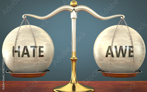 Metaphor of hate and awe staying in balance - showed as a metal scale with weigh Wallpaper Mural