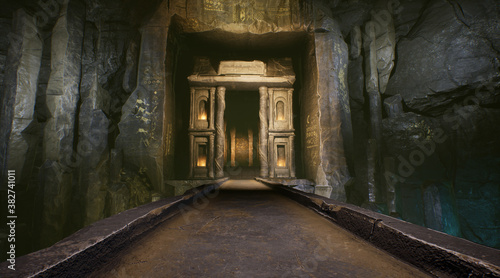 Obraz na plátně Temple's gate , fantasy background from an underground temple.