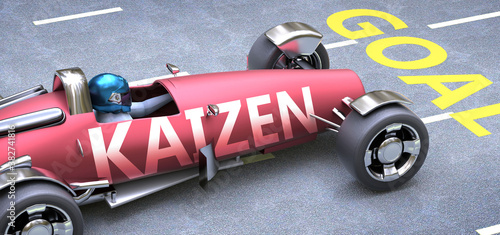 Obraz Kaizen helps reaching goals, pictured as a race car with a phrase Kaizen as a metaphor of Kaizen playing important role in getting value and achieving success in life and business, 3d illustration - fototapety do salonu