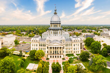 Drone View Of The Illinois State Capitol, In Springfield. Illinois State Capitol Houses The Legislative And Executive Branches Of The Government Of The U.S. State Of Illinois