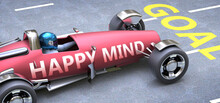 Happy Mind Helps Reaching Goals, Pictured As A Race Car With A Phrase Happy Mind On A Track As A Metaphor Of Happy Mind Playing Vital Role In Achieving Success, 3d Illustration