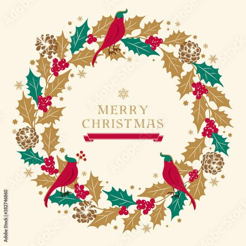 Fotografie, Tablou クリスマスリースのイラスト/ひいらぎのリース/ベージュ