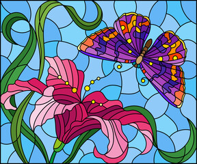 Fototapeta Witraże świeckie Illustration in stained glass style with a pink Lily flower and a bright butterfly on a blue sky background, rectangular image