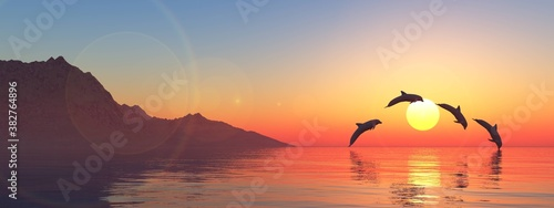 Seascape with dolphins at sunset, playing dolphins in the sea at sunrise, 3d ren Fotobehang