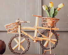Old Bicycle In A Basket