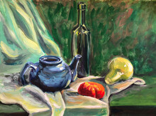 Gastronomic Still Life.Green Drapery And Wine, Ceramic Teapot On The Table.  Still Life With A Green Glass Bottle With A Blue Teapot, Tomato And Pear.