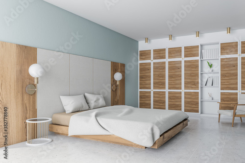 Fotografija Modern white and wooden bedroom corner