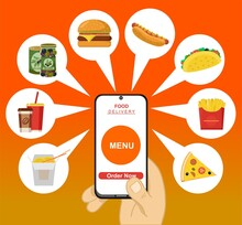 Concept For Food Delivery Service. Onboarding Screens Design In Food Delivery Concept. Modern And Simplified Vector Illustration, Template For Mobile Apps. Order Fast Food Online. Delivery Service.