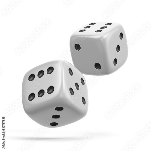 Leinwand Poster Two White Gambling Dices isolated on the white background