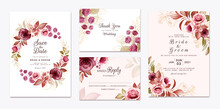 Floral Wedding Invitation Template Set With Gold Burgundy And Brown Roses Flowers And Leaves Decoration. Botanic Card Design Concept