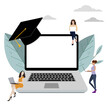 Remote study, online learning on laptop concept