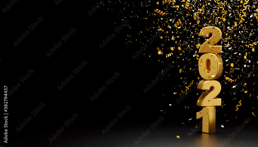 Fototapeta Happy new year 2021 and foil confetti falling on black background 3d render