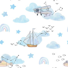 Little Dreamer Is A Collection Of Hand-drawn Watercolor And Vector Line Art Seamless Patterns Of Air Balloon, Lighthouse, Ship, Airship, Airplane, Submarine, Constellations, Clouds, Hearts And Stars.