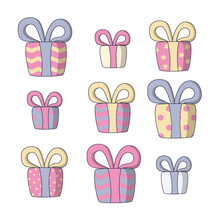 Christmas Presents Of Various Size And Color. Vector Illustration In Cute Cartoon Style On White Background