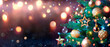 Abstract Christmas Tree With Baubles And Defocused Shiny Lights