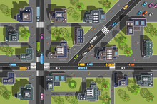 City Top View. Streets, Houses, Buildings, Roads, Crossroads,  Trees, Cars. (view From Above)