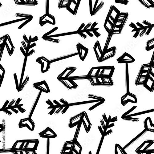 Various ink black arrows isolated on white background Wallpaper Mural