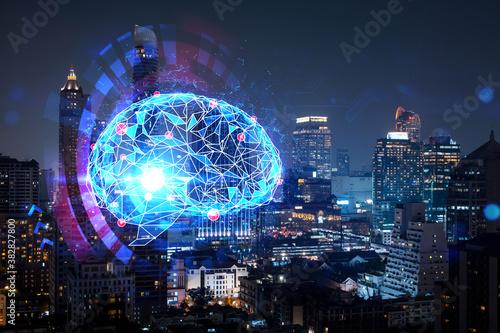Human brain hologram, aerial panoramic city view of Bangkok at night Canvas Print
