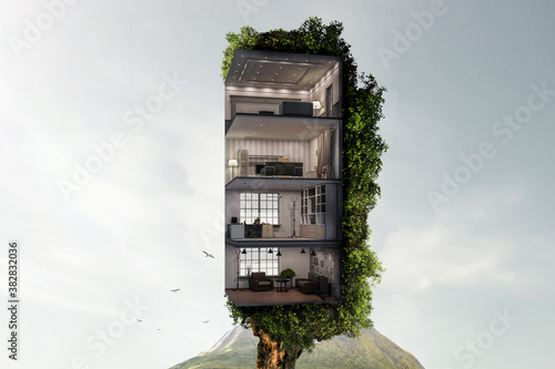 Obraz Real estate and ecology concept - fototapety do salonu