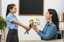 Schoolgirl Congratulating Her ...
