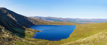 Panoramic View Of Heart Shaped Mountain Lake, Lough Ouler, Lake Ouler, Wicklow Mountains In The Background
