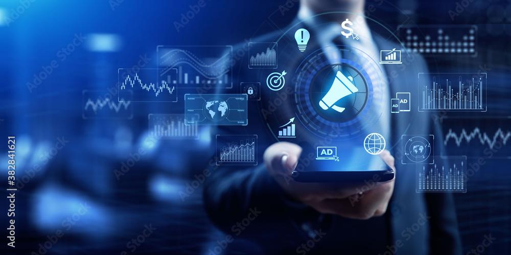 Fototapeta Advertising Advertisement internet marketing business technology concept on virtual screen.