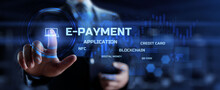 E-payment, Electronic Wallet, Digital Money Online Banking FINTECH Concept. Businessman Pressing Button With Text.