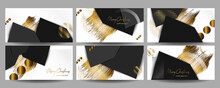 Set Of Cards Holiday Gold On White Background Decorations In The Style Of Abstract Christmas New Year's Design Template. Vector Eps10