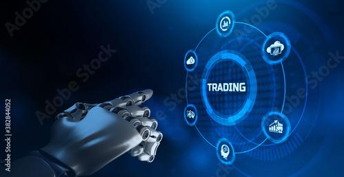 AI Robotic trader financial forex trading automation concept. Billede på lærred