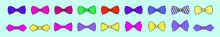 Set Of Bow Tie Cartoon Icon Design Template With Various Models. Vector Illustration Isolated On Blue Background