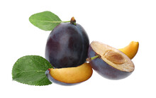 Whole And Cut Ripe Plums With ...