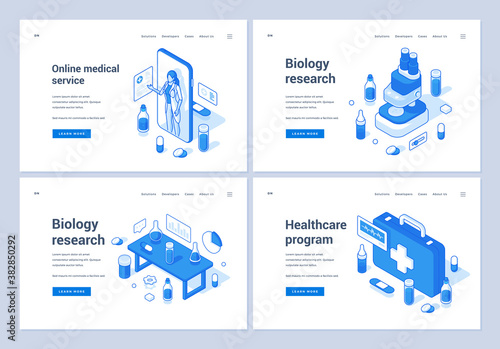 Banners for contemporary medical and biology services Fototapeta