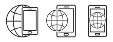 Planet Earth Symbol With Smartphone Icon. Mobile Phone Icon With Globe Earth Symbol