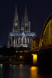 illuminated cathedral of cologne at night