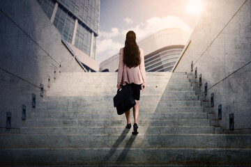 Rear view of businesswoman walking upward on stairs