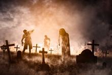 Three Creepy Ghost Walking In The Misty Graveyard